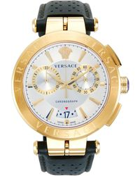 Versace Goldtone Stainless Steel & Leather-strap Chronograph Watch - Metallic