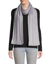 Badgley Mischka Pearl Embellished Fishtail Knit Scarf - Grey