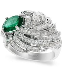 Effy - Diamond, Emerald & 14k White Gold Ring - Lyst