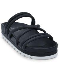 J/Slides Laurel Leather Platform Slides - Black