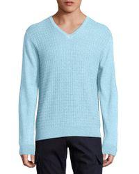 Saks Fifth Avenue - Jacquard V-neck Wool & Silk Jumper - Lyst