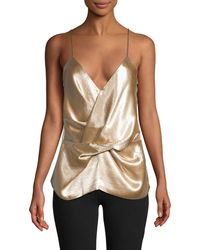 Ava & Aiden Drape-front Camisole - Natural
