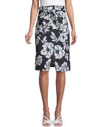 Marissa Webb Floral-print Tie-front Skirt - Black