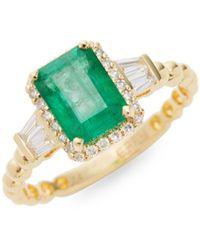 Effy 14k Yellow Gold, Diamond & Emerald Ring - Multicolour