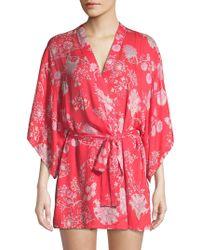 Natori - Tropical Print Wrap Robe - Lyst
