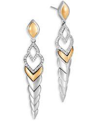 John Hardy Legends Naga Diamond Pave & 18k Gold Long Drop Earrings - Metallic