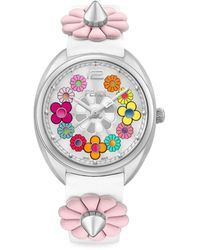 Fendi Momento Flower Stainless Steel & Leather-strap Watch - Gray