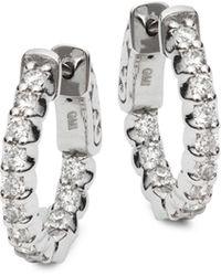 Saks Fifth Avenue 14k White Gold & Diamond Hoop Earrings - Multicolor