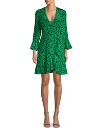 Tanya Taylor Print Silk Wrap Dress - Green