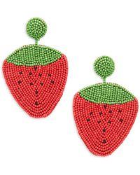 Kenneth Jay Lane - Beaded Strawberry Drop Earrings - Lyst