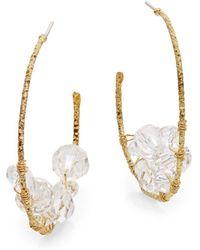 """R.j. Graziano - Beaded Hoop Earrings/2"""" - Lyst"""