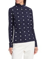 St. John Polka Dot Mockneck Top - Blue