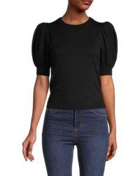 Alice + Olivia Brady Puff-sleeve Pullover - Black