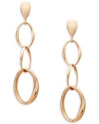 Roberto Coin 14k Rose Gold Trio Hoop-link Drop Earrings - Metallic