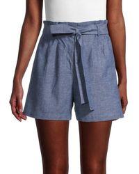 BCBGMAXAZRIA Women's Chambray Paperbag Shorts - Blue - Size S