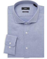 BOSS by Hugo Boss Mark Sharp-fit Dotted Dress Shirt - Blue