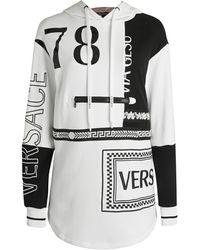 Versace Two-tone Tunic Hoodie - Black
