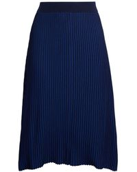 Pure Navy Plaited Midi Skirt - Blue