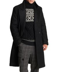 Karl Lagerfeld 2-in-1 Boucle Double-breasted Coat - Black