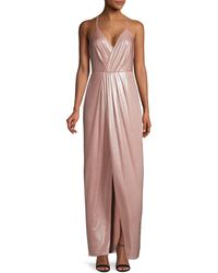 Laundry by Shelli Segal Plunging Front-slit Gown - Pink