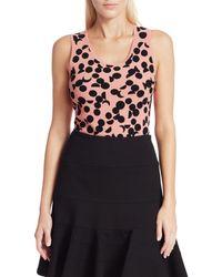 Akris Punto Luna Dot-print Sleeveless Knit Top - Pink