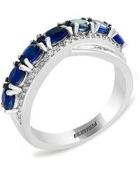Effy 14k White Gold, Natural Sapphire & Diamond Ring - Blue