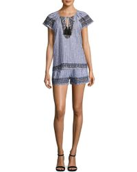 Parker - Iman Embroidered Striped Shorts - Lyst