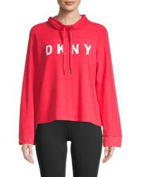 DKNY Women's Funnel Neck Bell Sleeve Pullover - Lust - Size L - Red