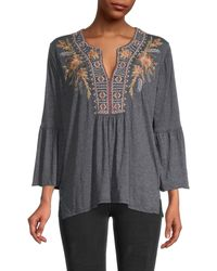 Johnny Was Hevea Embroidery Bell-sleeve Top - Black