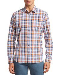 Saks Fifth Avenue Collection Cotton Plaid Shirt - Blue