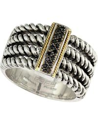 Effy - Twisted 18k Gold & Sterling Silver Diamond Ring - Lyst