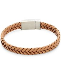 Tateossian Stainless Steel & Woven Leather Bracelet - Multicolour
