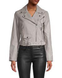 Maje Women's Notched Leather Jacket - Grey - Size 40 (l)