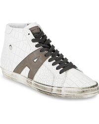Alessandro Dell'acqua Textured Leather High-top Sneakers - Grey
