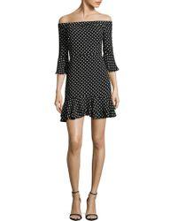 Lea & Viola - Off-the-shoulder Polka Dot Print Dress - Lyst