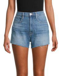 FRAME Le Vintage Cropped Denim Shorts - Blue