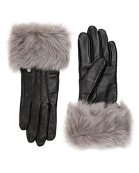 UGG Dyed Shearling Trimmed Leather Gloves - Brown