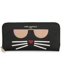 Karl Lagerfeld Choupette Continental Faux Leather Wallet - Black