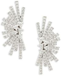 Saks Fifth Avenue Women's 14k White Gold, & 0.39 Tcw Diamond Earrings - Metallic