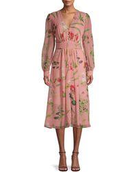Oscar de la Renta Floral-print Silk Dress - Pink