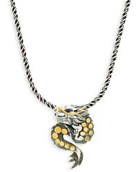Effy Sterling Silver And 18k Yellow Gold, Diamond And Sapphire Dragon Pendant Necklace - Metallic
