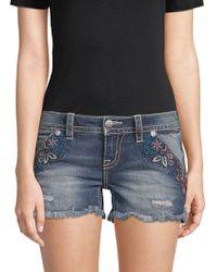 Miss Me Embroidered Denim Shorts - Blue
