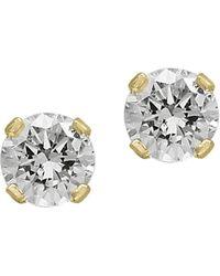 Effy Diamond & Yellow Gold Stud Earrings - Metallic
