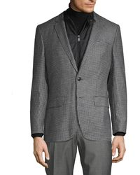 BOSS by Hugo Boss Hadwart Quilted-insert Houndstooth Virgin Wool Sportcoat - Gray