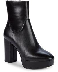 Ash Amazon Leather Platform Booties - Black