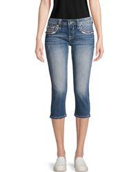 Vigoss Distressed Capri Jeans - Blue
