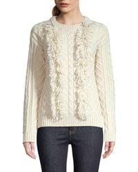Tory Burch Women's Fringe Eco Wool Jumper - New Ivory - Size L - White