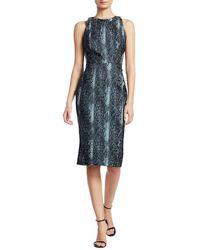 Zac Posen Snakeskin-print Metallic Jacquard Cocktail Dress - Blue