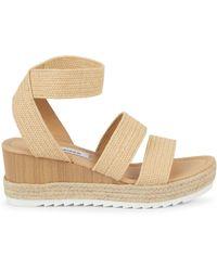 Steve Madden Yaro Raffia Platform Ankle-strap Sandals - Metallic