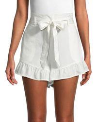 Saks Fifth Avenue Women's Belted Ruffle-hem Shorts - White - Size L